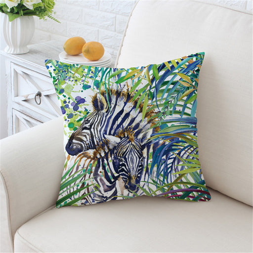 Rainbow Safari Zebra Cushion Cover Animal Pillow Case Bat Watercolor Printed Colorful Throw Cover - Dropshipful.com