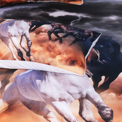 Dropshipful Horses Bedding Set 3D Dusty Lightning Printed Duvet Cover Double for Adults Bed Cover Photography Bedclothes 3pcs - Dropshipful.com