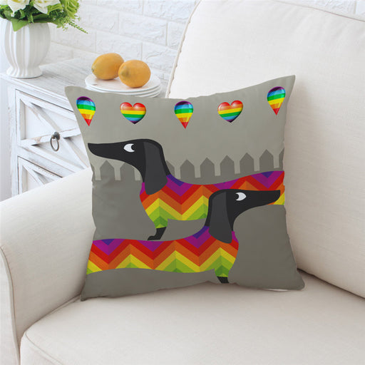 Dachshund Sausage Cushion Cover Rainbow Puppy Pillow Case Cartoon Throw Cover - Dropshipful.com