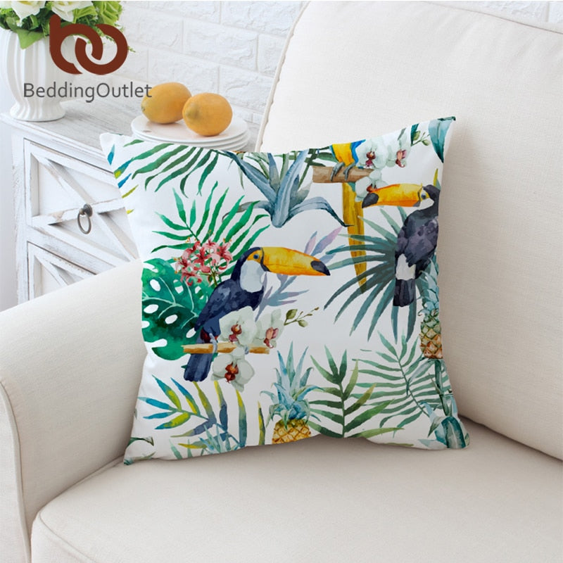 Dropshipful Toucan Cushion Cover Floral Pillow Case Tropical Plant Throw Cover Pineapple Decorative Pillow Covers 45cmx45cm - Dropshipful.com