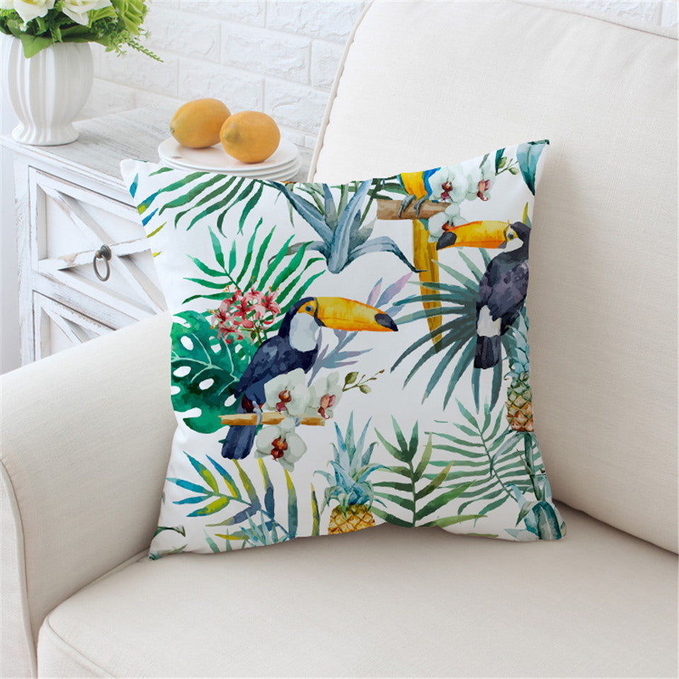 Toucan Cushion Cover Floral Pillow Case Tropical Plant Throw Cover Pineapple Decorative Pillow Covers - Dropshipful.com