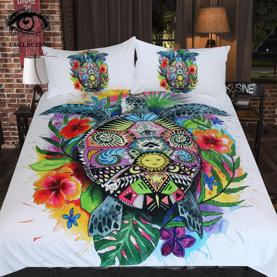 Turtle Life by Pixie Cold Art Bedding Set Bohemian Duvet Cover Set Floral Colorful Bedclothes 3pcs Tortoise Home Textiles Queen - Dropshipful.com