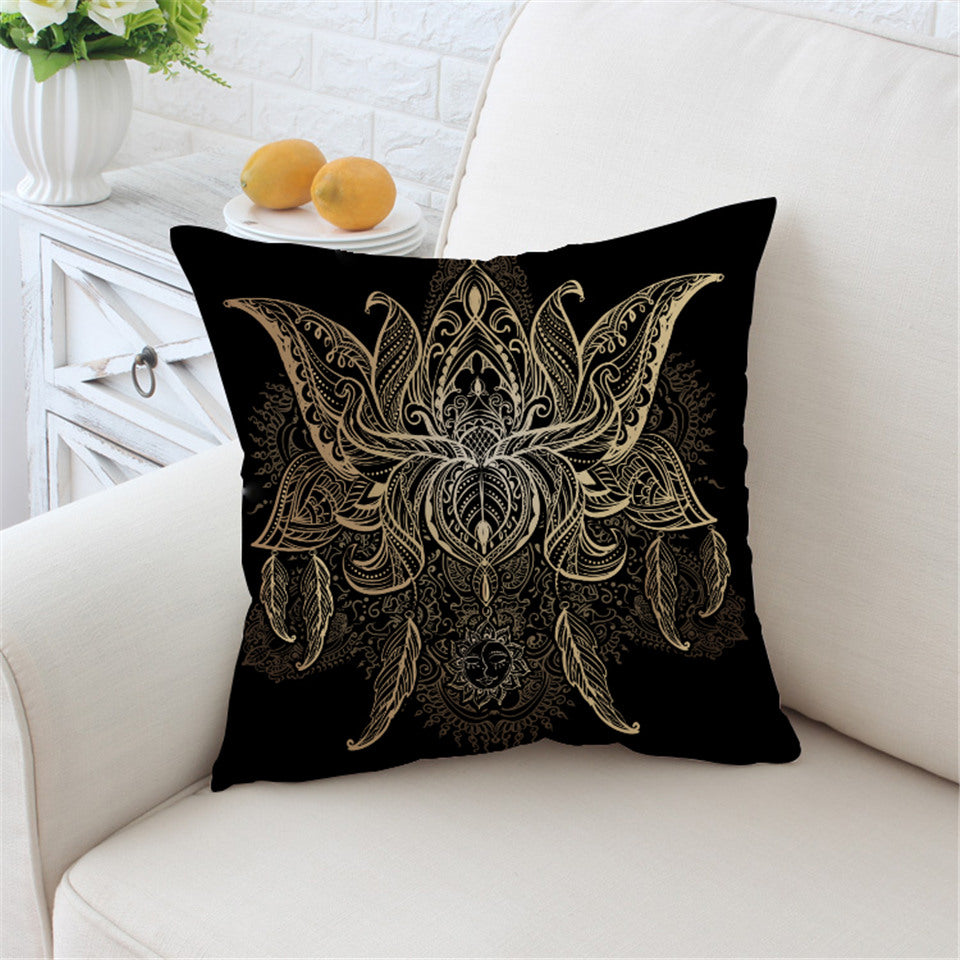 Lotus Cushion Cover Flower Bohemian Pillow Case Sun Print Boho Throw Cover Floral Pillow Cover - Dropshipful.com