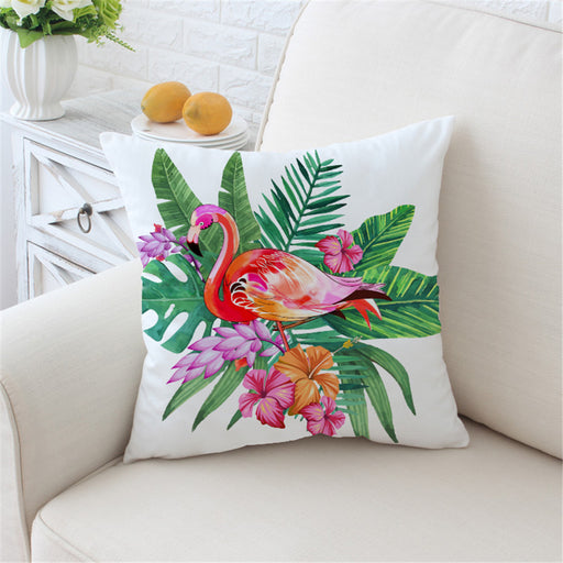 Flamingo Cushion Cover Floral Pillow Case Pink and Green Tropical Plant Throw Cover Girls - Dropshipful.com