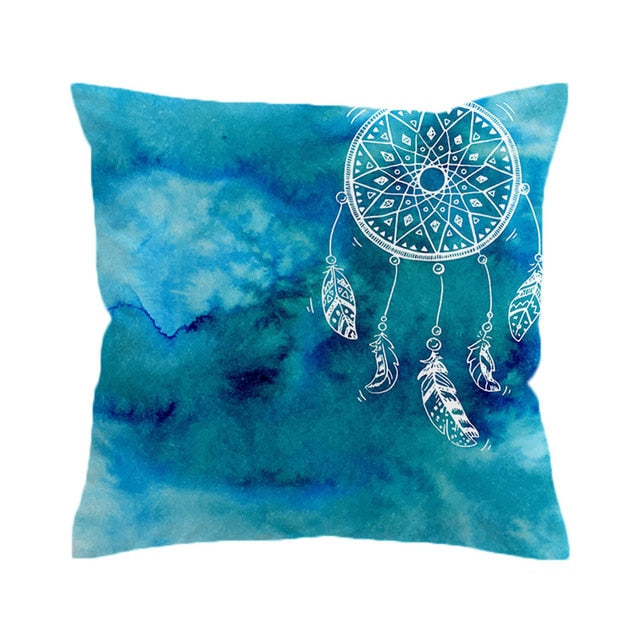 Dropshipful Watercolor Cushion Cover Dreamcatcher Pillow Case Pink and Blue Throw Cover Decorative Pillow Covers for Sofa Bed - Dropshipful.com