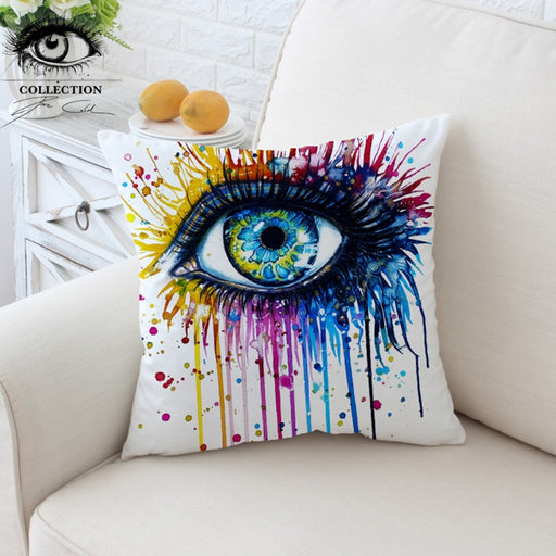 Rainbow Fire by Pixie Cold Art Cushion Cover Charming Eye Pillow Case Throw Cover Watercolor Decorative Pillow Cover for Sofa - Dropshipful.com