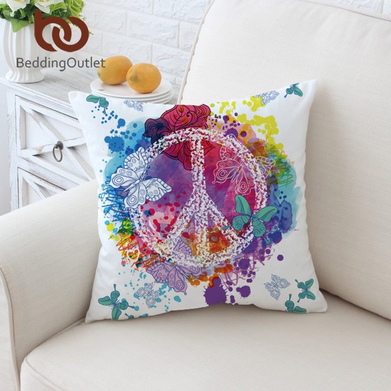 Dropshipful Watercolor Butterfly Cushion Cover Colorful Printed Pillow Case Throw Cover Peace Design Pillow Cover 2 Sizes - Dropshipful.com