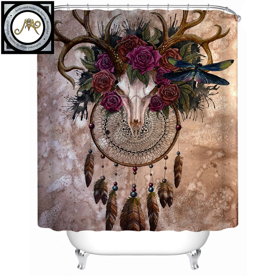Mystery Skull Dreamcatcher by Sunima-MysteryArt Shower Curtain Roses Waterproof Bath Curtain Polyester Bathroom Decor With Hooks - Dropshipful.com
