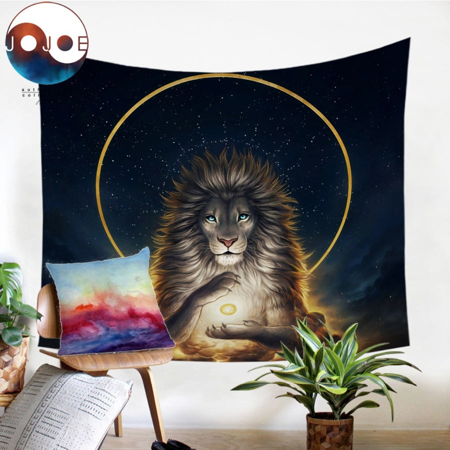 Soul Keeper by JoJoesArt Tapestry Lion God In The Sky Wall Hanging Animal Sheets Golden Tapestry Home Decor 130x150cm Picnic Mat - Dropshipful.com