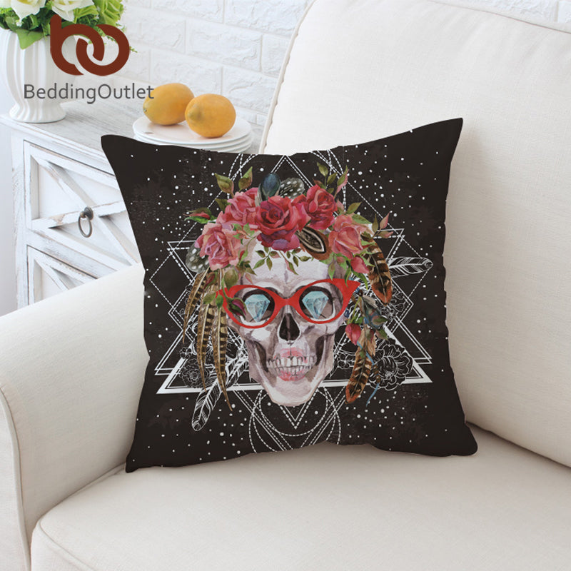 Dropshipful Sugar Skull with Glasses Cushion Cover Pop Art Pillow Case Cool Throw Cover Pillow Cover 2 Sizes Home Decor - Dropshipful.com