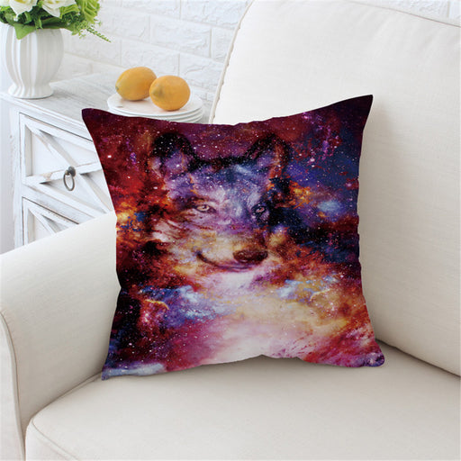 Colorful Square Galaxy Cushion Cover 3D Print Pillow Case Animal Wolf Throw Cover - Dropshipful.com