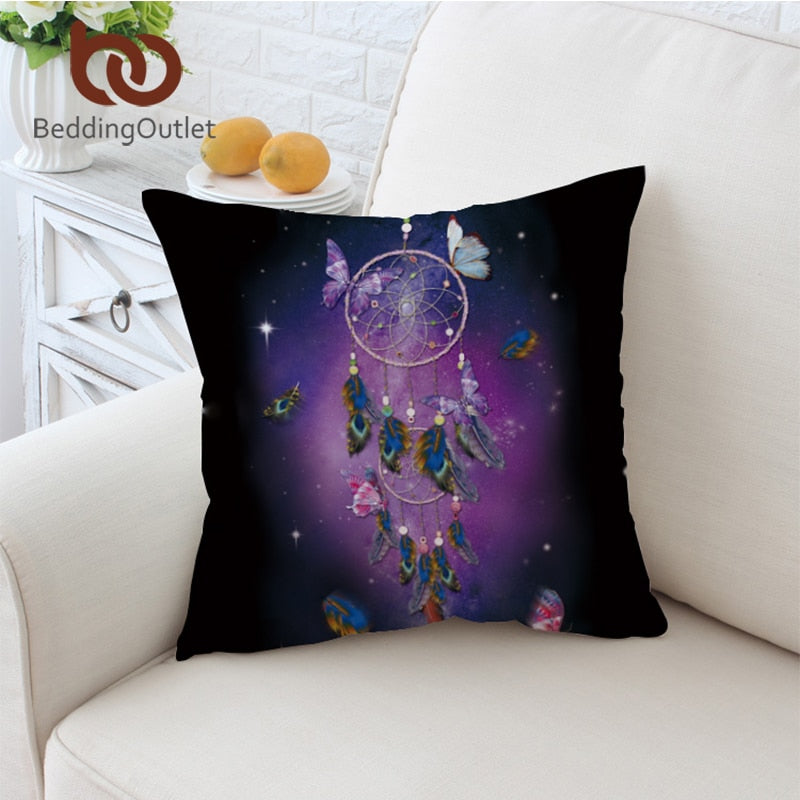 Dropshipful Dreamcatcher Cushion Cover Romantic Purple Pillow Case Throw Cover Dreamlike Butterfly Pillow Cover For Sofa - Dropshipful.com