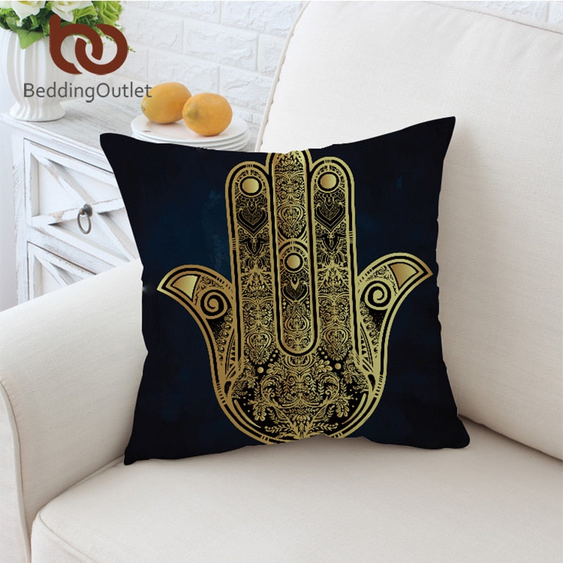 Dropshipful Hamsa Hand Cushion Cover Vintage Pillowcase Microfiber Sofa Throw Cover Boho Gloden Decorative Pillow Cover 45cm - Dropshipful.com