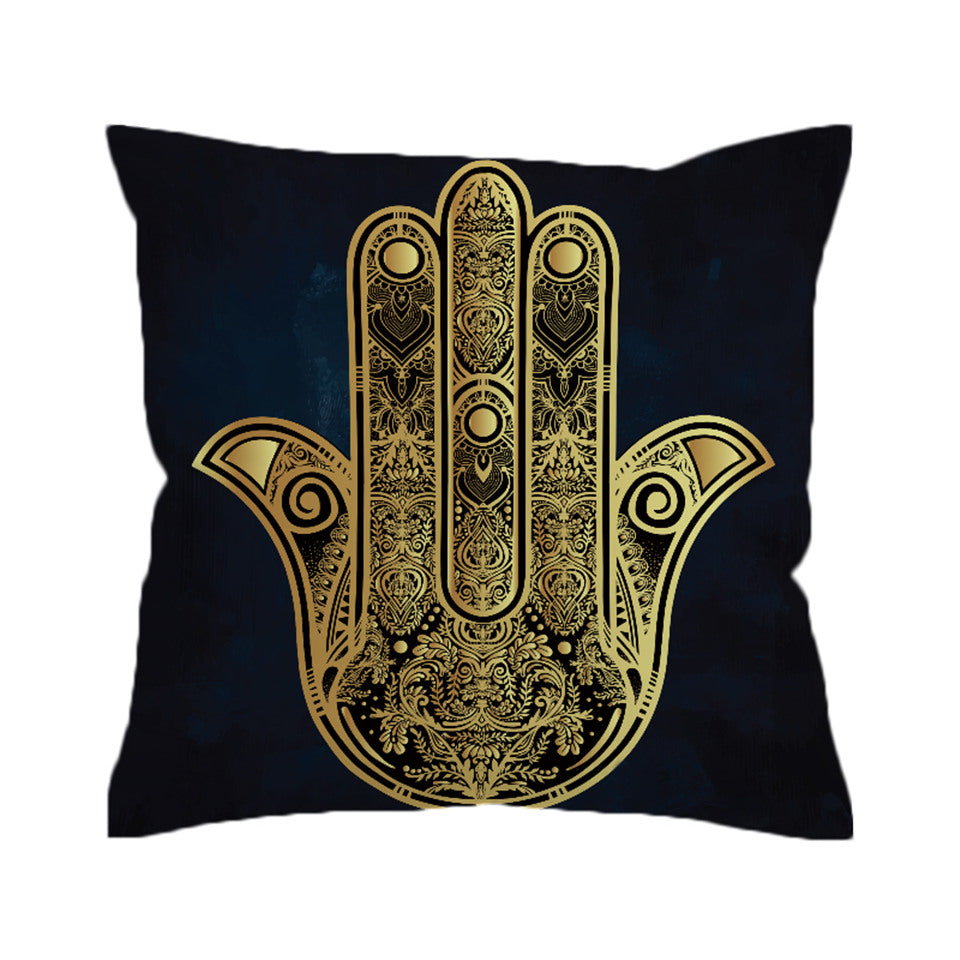 Boho Gloden Hamsa Hand Cushion Cover Vintage Pillowcase Microfiber Sofa Throw Cover  Decorative Pillow Cover - Dropshipful.com