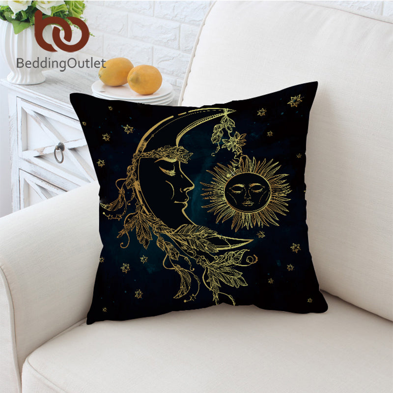 Dropshipful Black Cushion Cover Gold Moon Accompany With Sun Pillowcase Sofa Throw Cover Boho Decorative Pillow Cover 45x45cm - Dropshipful.com