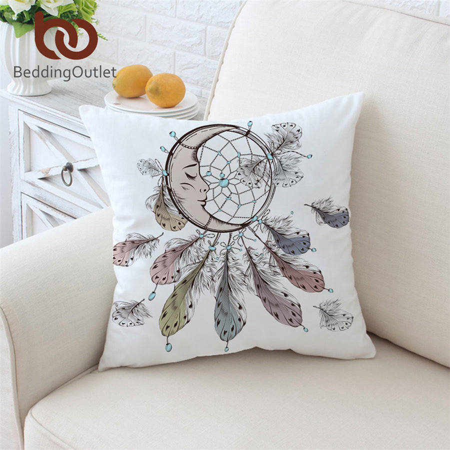 Dropshipful Moon Dreamcatcher Cushion Cover White Pillowcase for Sofa Bed Throw Cover Feather Bohemian Decorative Pillow Cover - Dropshipful.com
