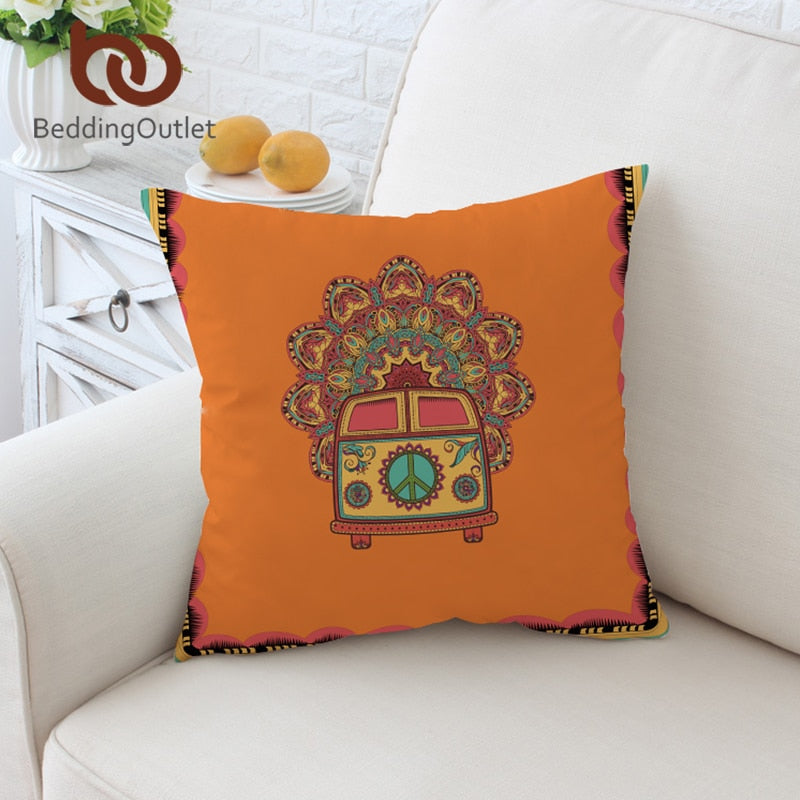 Dropshipful Hippie Vintage Car Cushion Cover Mandala Pillowcase Peace Design Throw Cover Boho Mini Van Decorative Pillow Cover - Dropshipful.com