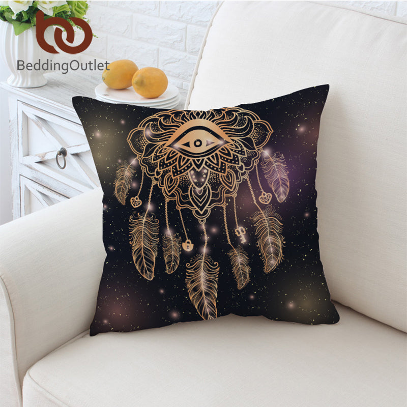 Dropshipful Eye Dreamcatcher Cushion Cover Golden Pillowcase Sofa Throw Cover Galaxy 45x45cm Bohemian Decorative Pillow Cover - Dropshipful.com