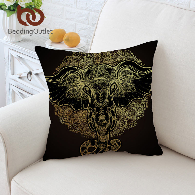 Dropshipful Tribal Elephant Cushion Cover Indian God Ganesha Pillowcase Sofa Ethnic Throw Cover Boho Decorative Pillow Cover - Dropshipful.com