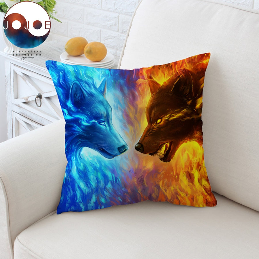 Fire and Ice by JoJoesArt Cushion Cover 3D Printed Pillow Case Animal Wolf Wolves Throw Cover Blue Decorative Pillow Cover 45cm - Dropshipful.com