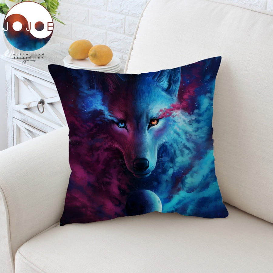 Where Light And Dark Meet by JoJoesArt Cushion Cover Wolf 3D Pillow Case Animal Eyes Throw Cover Decorative Pillow Cover 45x45cm - Dropshipful.com