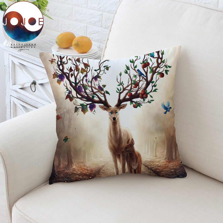 Seasons Change by JoJoesArt Cushion Cover Floral Deer Elk Pillow Case Animal Throw Cover Maternal Love Decorative Pillow Cover - Dropshipful.com