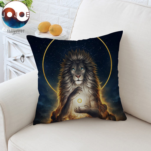 Soul Keeper by JoJoesArt Cushion Cover Lion God In The Sky Pillow Case Animal Holy Throw Cover Golden Decorative Pillow Cover - Dropshipful.com