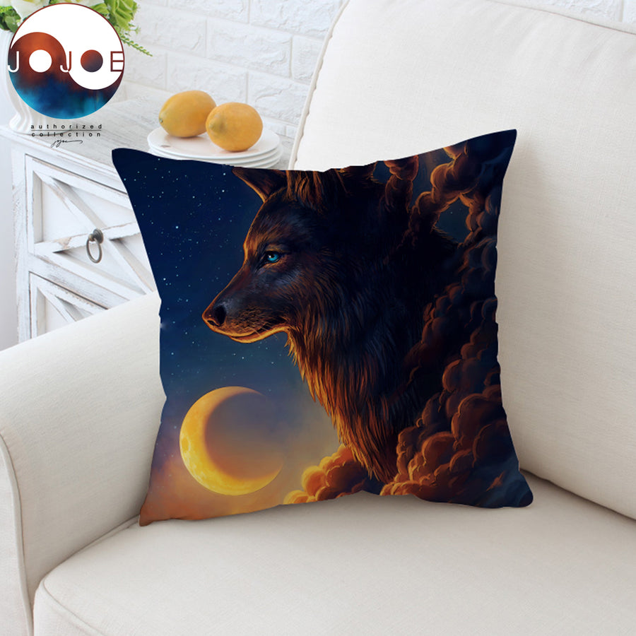 Night Guardian by JoJoesArt Cushion Cover Wolf And The New Moon Pillow Case Animal Throw Cover Coulds Decorative Pillow Cover - Dropshipful.com
