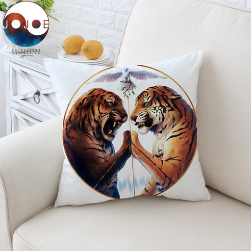 Peace by JoJoesArt Cushion Cover Two Tigers Pillow Case Ferocious Animal Throw Cover 45cm Decorative Pillow Cover for Sofa Bed - Dropshipful.com