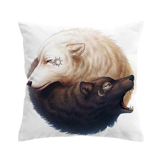 Yin and Yang Wolves by JoJoesArt Cushion Cover Wolf Pillow Case Animal Throw Cover Tai Chi Decorative Pillow Cover for Sofa Bed - Dropshipful.com
