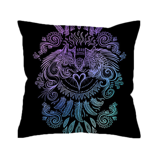 Wolves Heart by SunimaArt Cushion Cover Wolf Pillow Case Feathers Boho Throw Cover Black White Decorative Pillow Cover for Sofa - Dropshipful.com