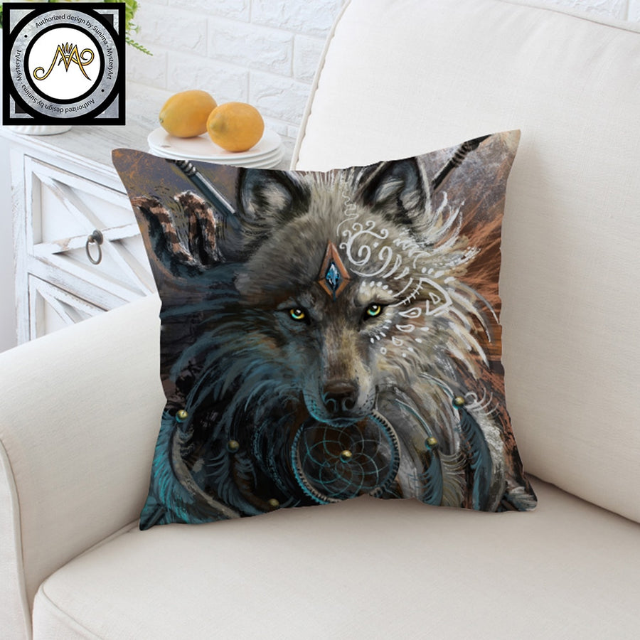 Wolf Warrior by SunimaArt Cushion Cover Native American Pillow Case Indian Throw Cover Dreamcatcher Decorative Pillow Cover - Dropshipful.com