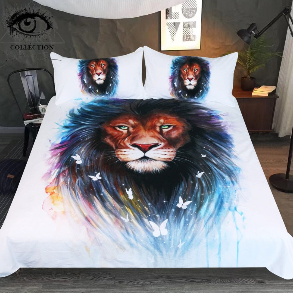 Memories by Pixie Cold Art Bedding Set Animal Printed Duvet Cover Lion and Butterfly Bed Set Watercolor Bedclothes 3-Piece - Dropshipful.com