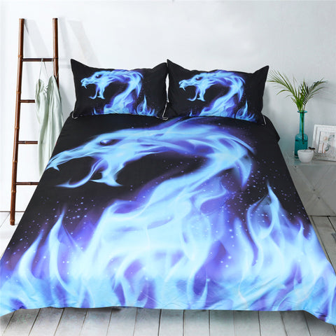 Dropship Blue Fire Bedding Set Cool Dragon Bed Cover Animal 3D Printed Duvet Cover Set  3-Piece - Dropshipful.com