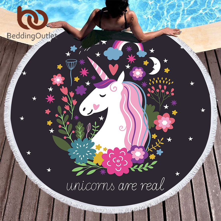 Dropshipful Cartoon Round Beach Towel Unicorn Tassel Tapestry Floral Toalla Sunblock Cover-Up Blanket for Kids Adults Yoga Mat - Dropshipful.com