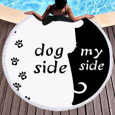 Cartoon Microfiber Round Beach Towel Dog Side and My Side Large Summer Towel  150cm - Dropshipful.com