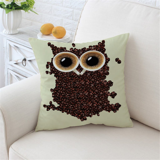 3D Cute Owl Cushion Cover Coffee Beans Pillow Case Animal Throw Cover Decorative Pillow Cover 2 Sizes - Dropshipful.com