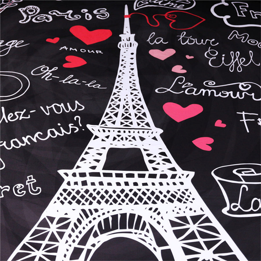 France Paris Tower Cushion Cover Romantic Letters Heart Pillow Case Black Throw Cover - Dropshipful.com