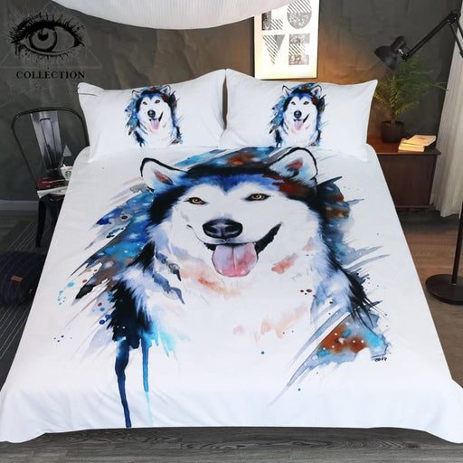 Husky by Pixie Cold Art Bedding Set Animal Printed Duvet Cover Watercolor Bed Set for Kids Cute Dog Pet Bedclothes 3-Piece - Dropshipful.com