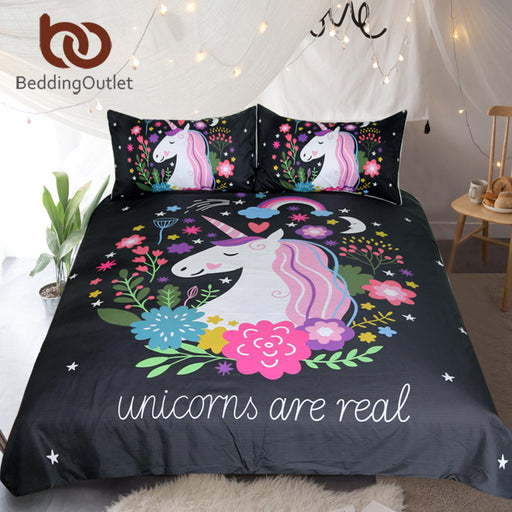 Dropshipful Unicorn Bedding Set Cartoon Print for Kids Duvet Cover With Pillowcases Girls Single Bed Set Floral Home Textiles - Dropshipful.com