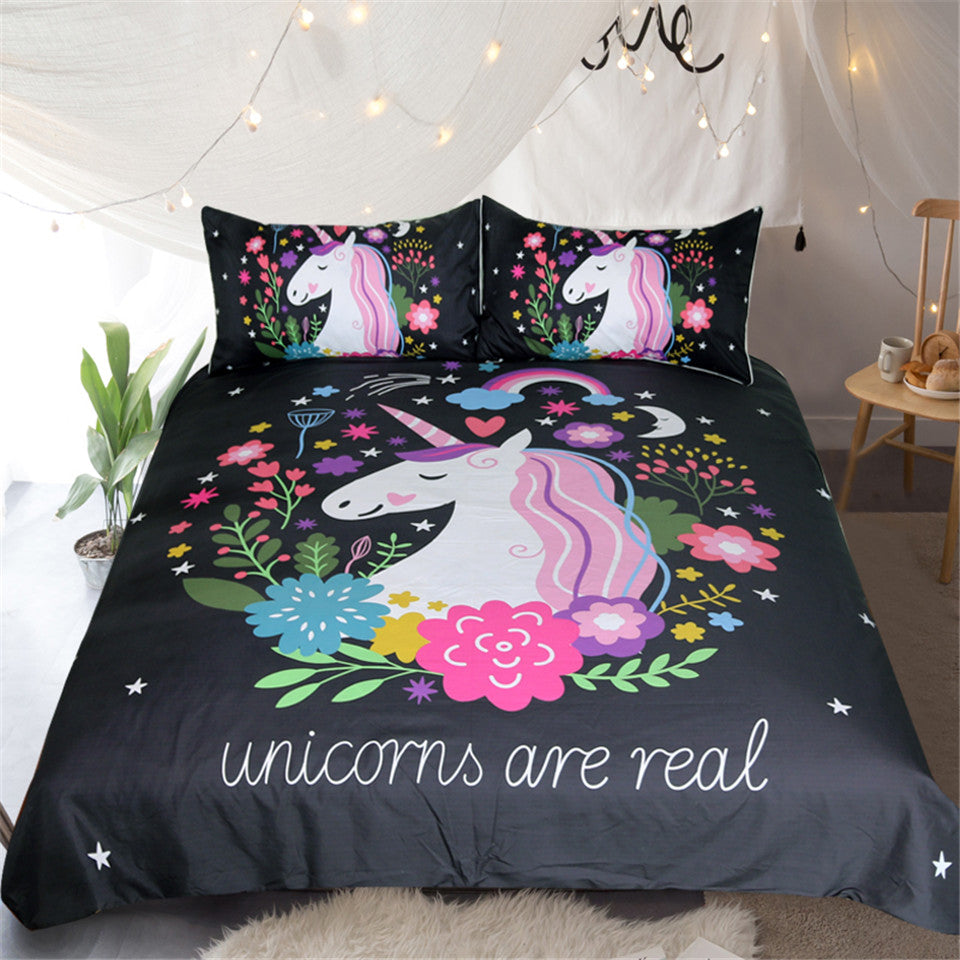 Dropshipful Unicorn Floral Bedding Set Cartoon Print for Kids Duvet Cover With Pillowcases 3Pcs - Dropshipful.com