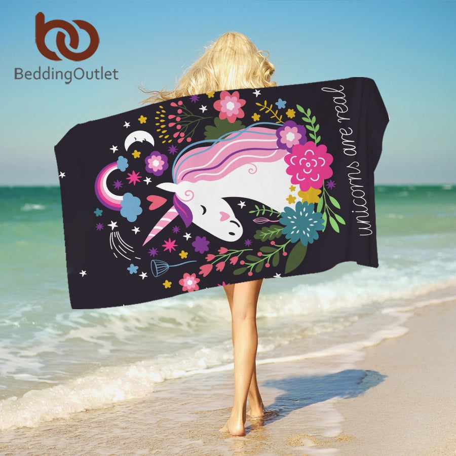 Dropshipful Unicorn Bath Towel With Tassels Cartoon Printed Microfiber Beach Towel For Woman Kids Floral Picnic Mat 75cmx150cm - Dropshipful.com