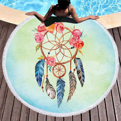 Dreamcatcher Floral Round Beach Towel With Tassel Tapestry for Woman Microfiber Toalla Cover Up 150cm - Dropshipful.com