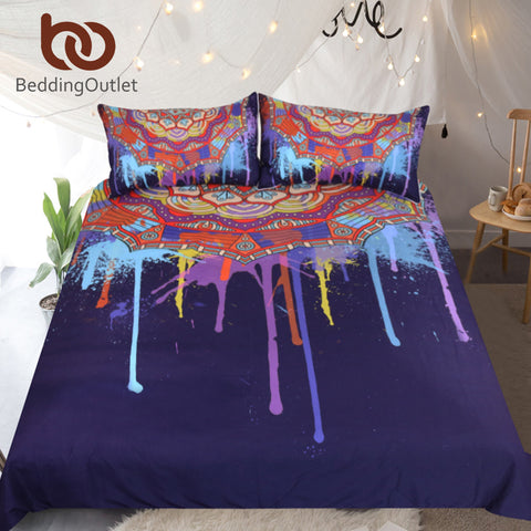 Dropshipful Bohemian Bedding Set Queen Watercolor Boho Quilt Cover Colorful Printed Bed Set Purple Mandala Bedclothes 3-Piece - Dropshipful.com