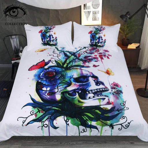 Candid by Pixie Cold Art Bedding Set Skull Duvet Cover Set Plant Butterfly Colorful Bedclothes Watercolor Floral Home Textiles - Dropshipful.com