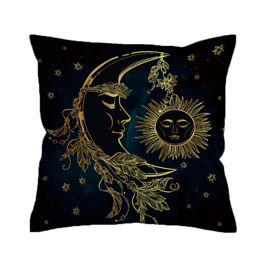 Boho Cushion Cover Moon Accompany With Sun Pillowcase Sofa Throw Cover Decorative Pillow Cover - Dropshipful.com