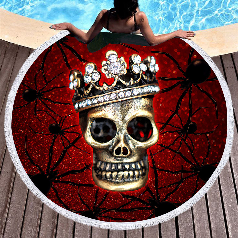 Spider Skull Round Beach Towel Microfiber Large Blood Red Summer Towel 15cm - Dropshipful.com