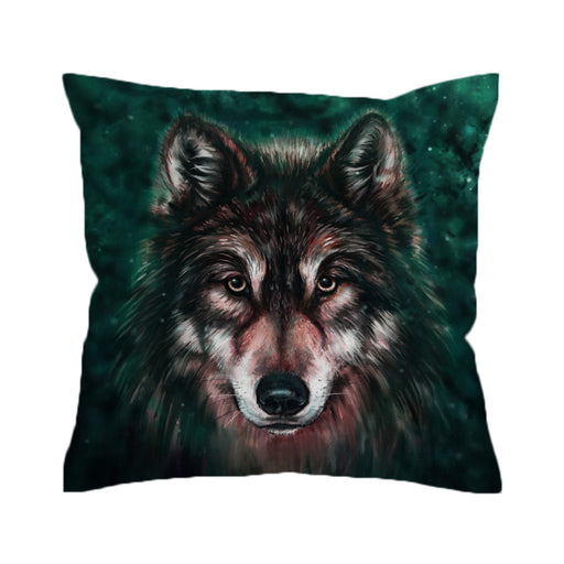 Dropshipful Oil Painting Wolf Cushion Cover Wolf Art Pillow Case Square Throw Cover - Dropshipful.com