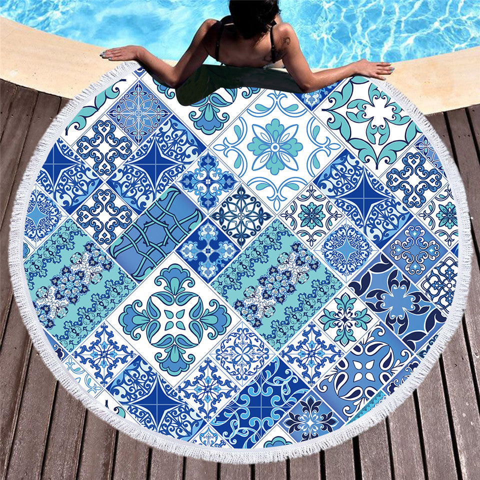 Mosaic Floral Round Beach Towel Microfiber Blue and White Large Summer Towel 150cm - Dropshipful.com