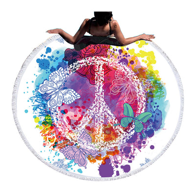 Dropshipful Watercolor Peace Butterfly Round Beach Towel - Dropshipful.com